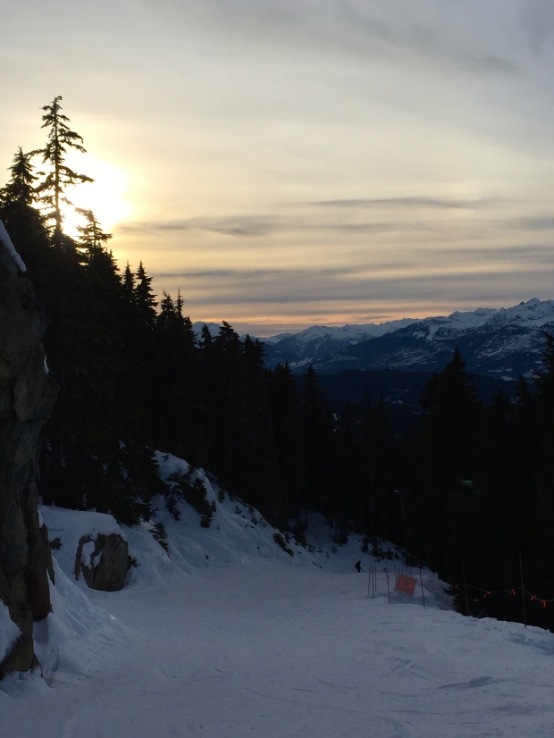 Skiing until last lifts as the sun starts to set © 2015 Kate Vista
